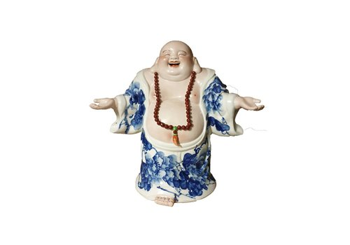 Fine Asianliving Fine Asianliving Chinese Buddha Laughing Lucky Porcelain Statue Figure Ceramics Welcome Handpainted