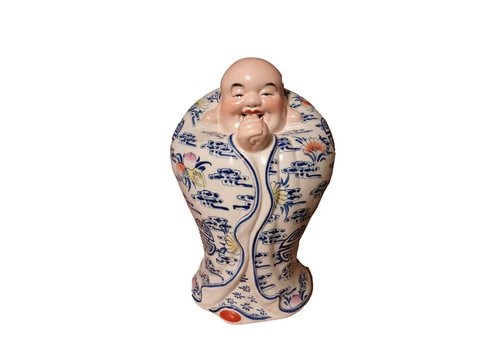 Fine Asianliving Fine Asianliving Chinese Buddha Laughing Lucky Porcelain Statue Figure Ceramics Handpainted