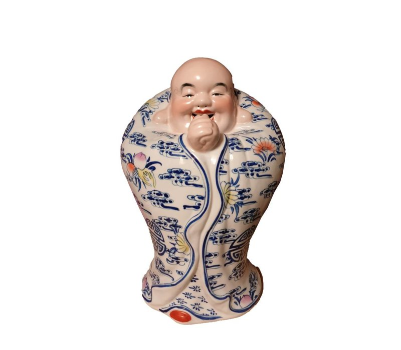 Fine Asianliving Chinese Buddha Laughing Lucky Porcelain Statue Figure Ceramics Handpainted