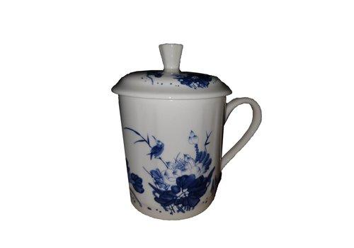Fine Asianliving Thee beker blauwe bloemen met vogels