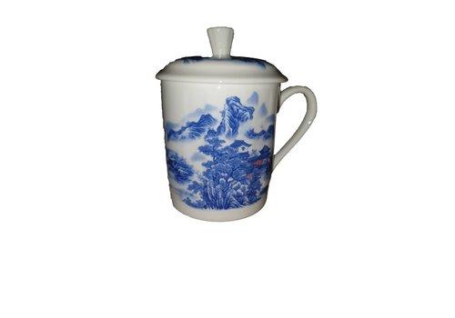 Fine Asianliving Thee Beker blauwe gebergte met huis