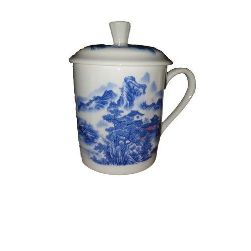 Tea Mug Blue gebergte White huis
