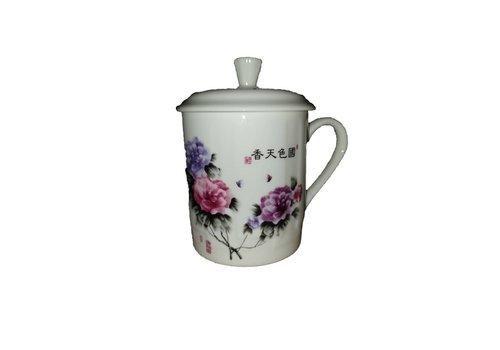 Fine Asianliving Thee  beker rozen en paarse bloemen