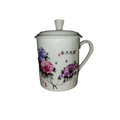Tea  Mug Pink en Purplee Flowers