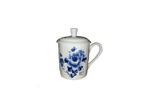 Fine Asianliving Thee beker blauwe bloemen