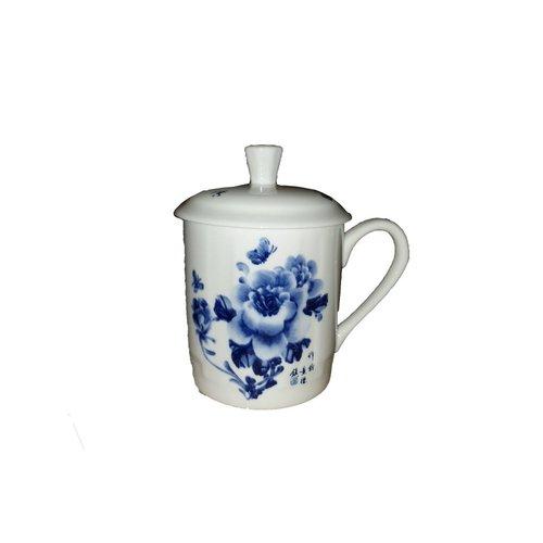 Tea cup White blue flowers