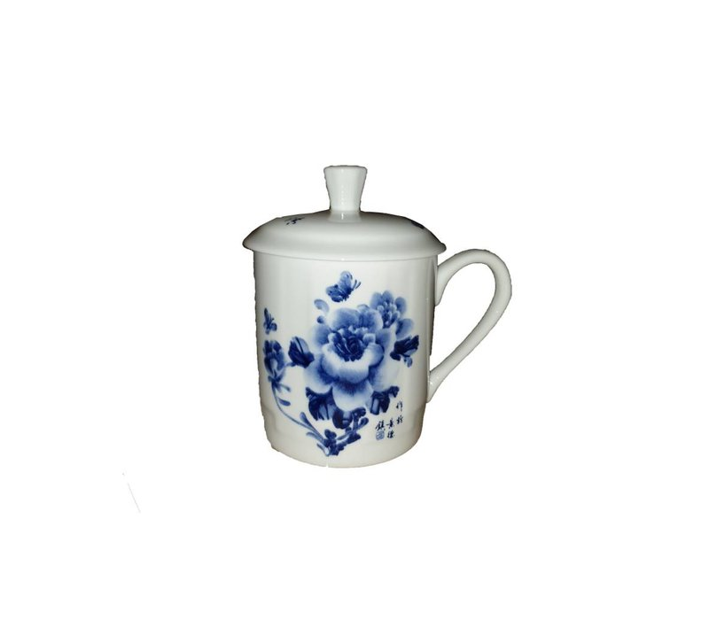 Tea cup White blue flowers