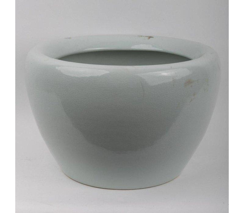 Chinesischer Topf Vase Porzellan Craque Mint Grau
