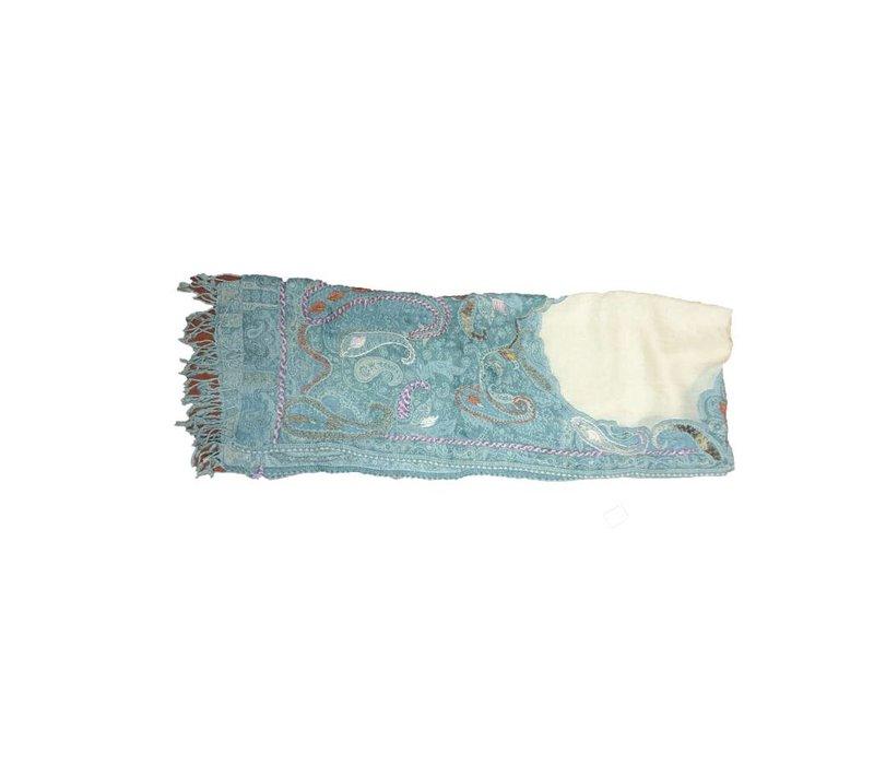 Nepal handgemaakte sjaal turquoise en roze accenten
