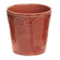 Roze pot met klok