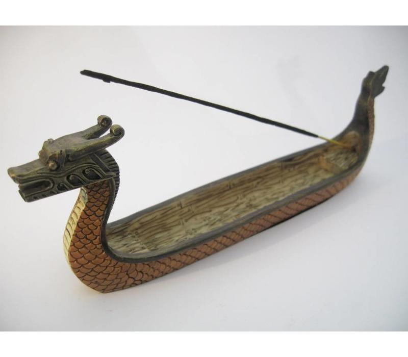 Incense holder Chinese Dragon Boat Orange