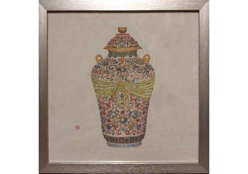 Fine Asianliving Chinees Schilderij Chinese Pot met Lijst B35xD3xH35cm