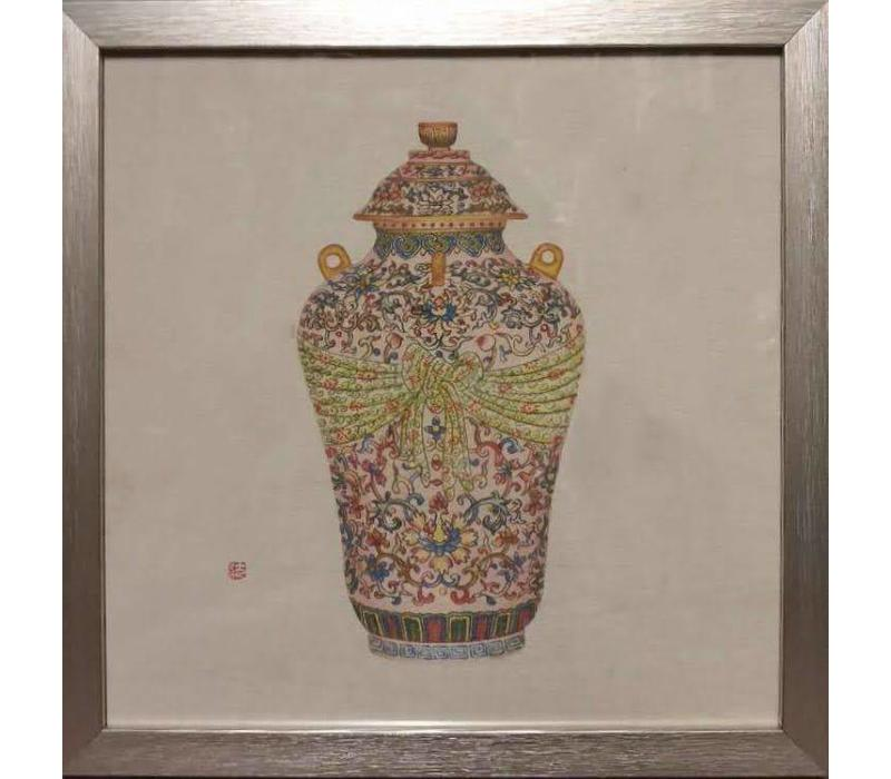 Chinees Schilderij Chinese Pot met Lijst B35xD3xH35cm