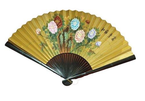 Fine Asianliving Chinese Waaier Wanddecoratie Bloemen Groot