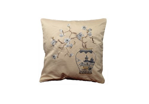 Fine Asianliving Fine Asianliving Silk cushion White handembroidered vase and Sakura Beige