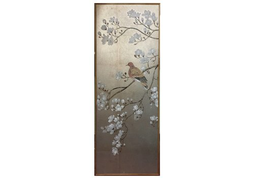 Fine Asianliving Painting Silver Leaf Background White Flowers And Bird