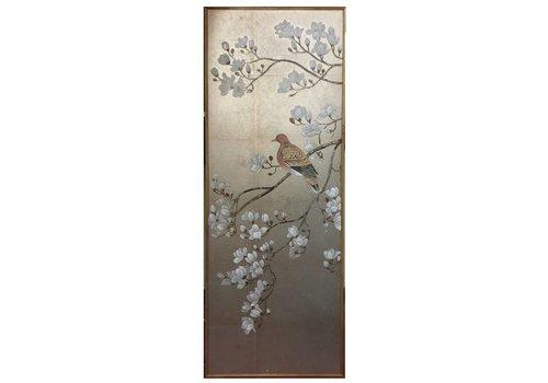 Fine Asianliving Schilderij Bladzilver Handbeschilderde Witte Bloesems En Vogel