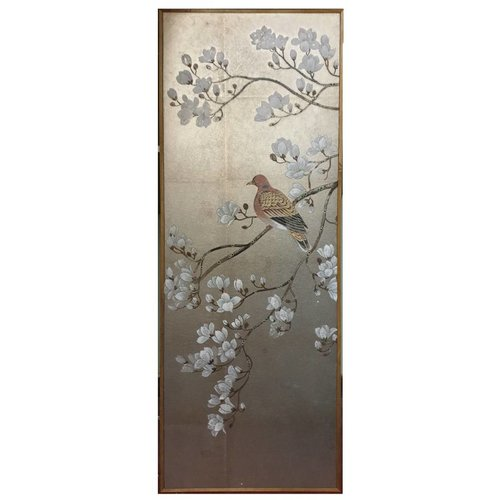 Painting Silver Leaf Background White Flowers And Bird
