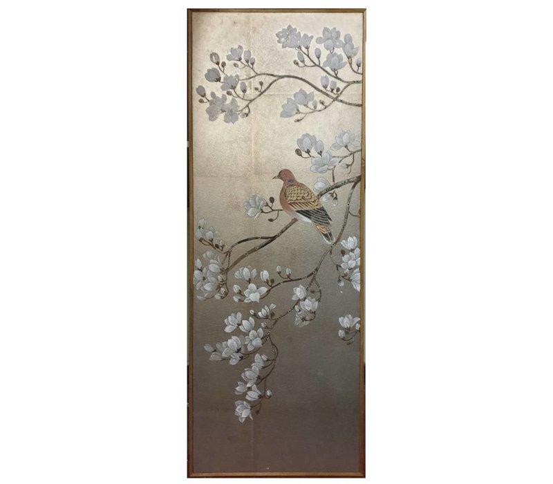 Schilderij Bladzilver Handbeschilderde Witte Bloesems En Vogel
