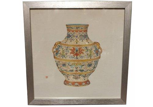 Fine Asianliving Tableau sur Toile Décoration Murale Chinois Encadré chinois Vase en Porcelaine L33xP3xH33cm