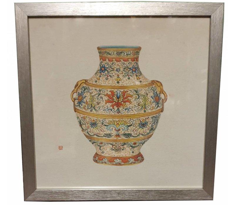 Chinees Schilderij met Lijst Chinese Vaas Porselein B33xD3xH33cm