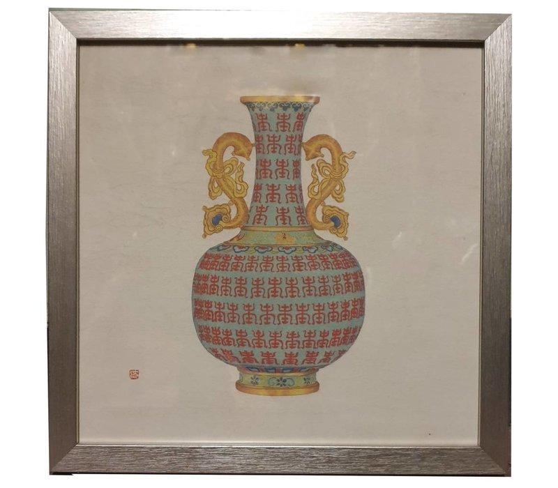 Chinese Schilderij Geel en Blauw met Draken Handvat