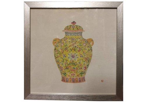 Fine Asianliving Chinees Schilderij met Lijst Chinees Porselein Vaas Geel B35xD3xH35cm