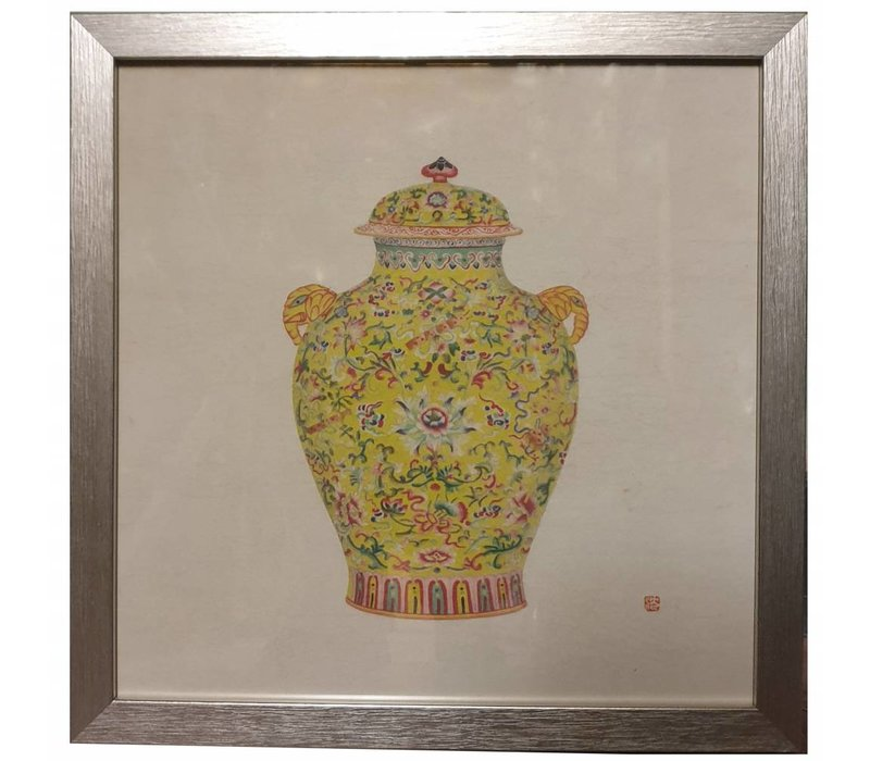 Chinese Painting Yellow Pot White Flowers