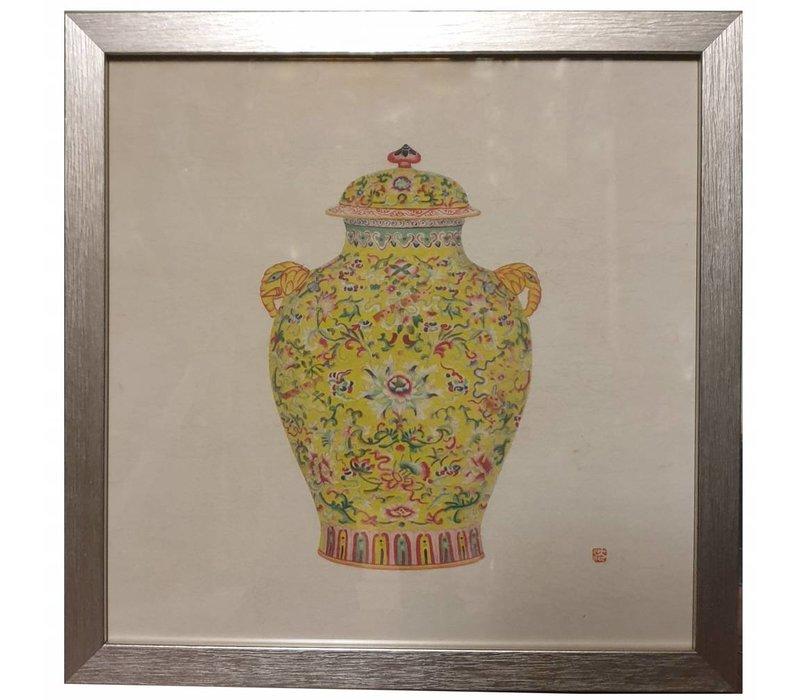 Chinese Schilderij Gele Pot met Bloemen