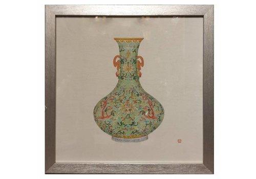 Fine Asianliving Chinees Schilderij met Lijst Chinees Porselein Vaas Mint B35xD3xH35cm