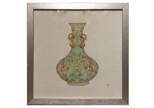 Fine Asianliving Chinese Painting with Frame Chinese Porcelain Vase Mint W35xD3xH35cm