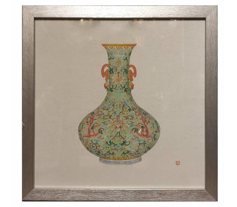 Chinees Schilderij met Lijst Chinees Porselein Vaas Mint B35xD3xH35cm