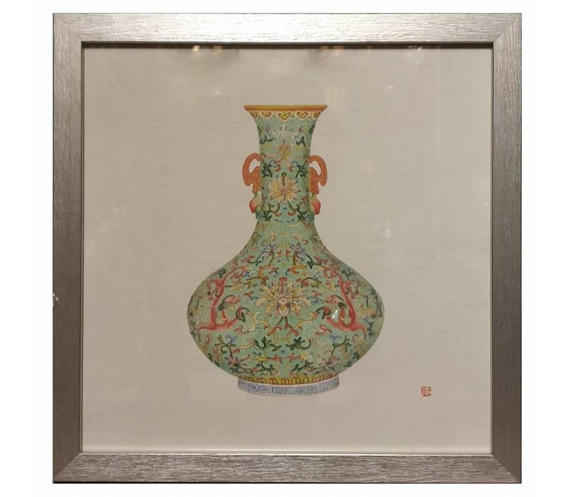 Chinese Painting with Frame Chinese Porcelain Vase Mint W35xD3xH35cm