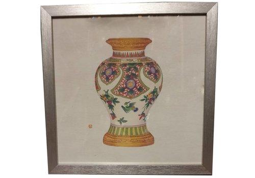 Fine Asianliving Chinees Schilderij met Lijst Chinees Porselein Vaas Fruit B35xD3xH35cm