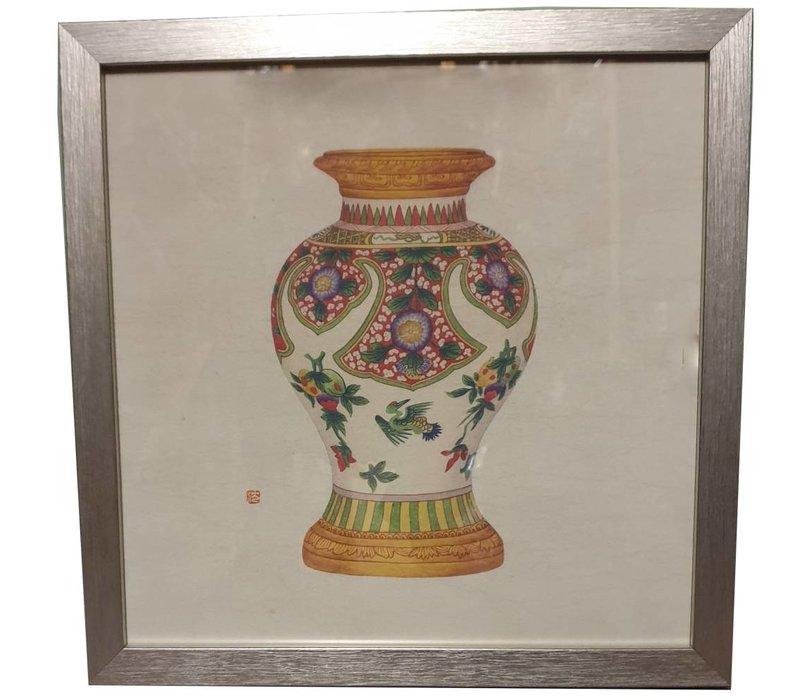 Chinees Schilderij met Lijst Chinees Porselein Vaas Fruit B35xD3xH35cm