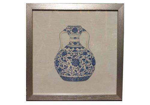 Fine Asianliving Chinees Schilderij met Lijst Chinees Porselein Vaas blauw Wit B35xD3xH35cm