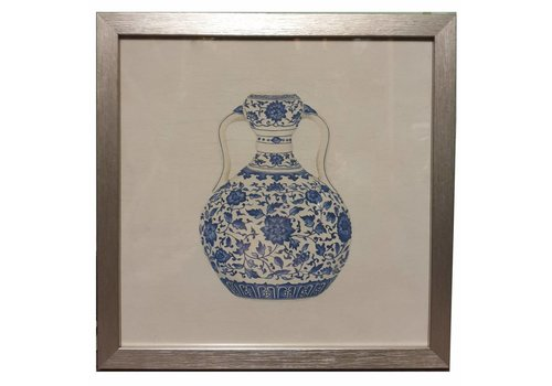 Fine Asianliving Tableau sur Toile Décoration Murale Chinois Encadré chinois Vase en Porcelaine Bleu Blanc L35xP3xH35cm