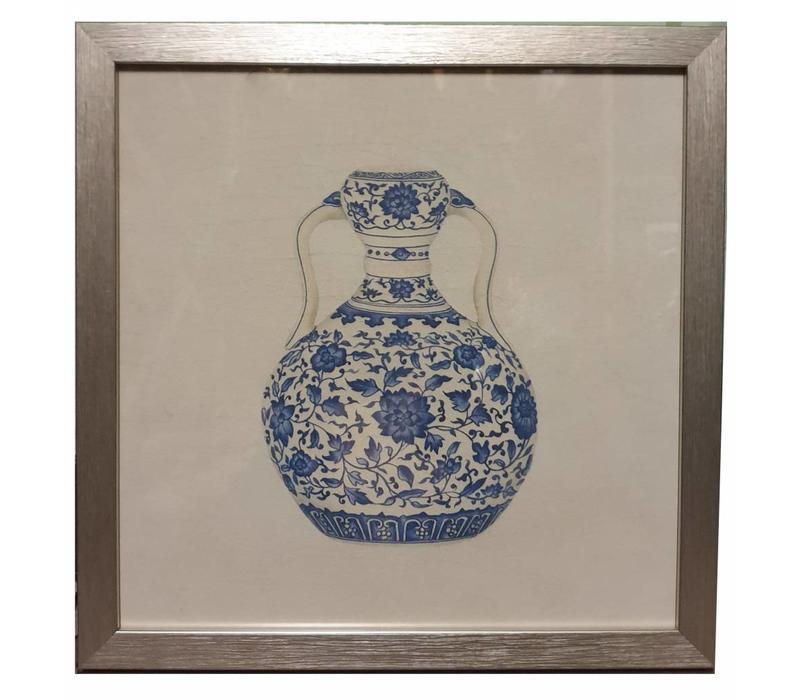 Tableau sur Toile Décoration Murale Chinois Encadré chinois Vase en Porcelaine Bleu Blanc L35xP3xH35cm