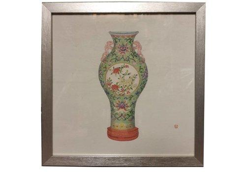 Fine Asianliving Chinees Schilderij met Lijst Chinees Porselein Vaas Bloemen B35xD3xH35cm