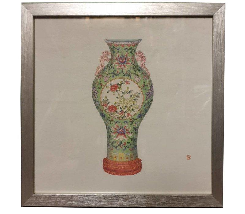 Chinees Schilderij met Lijst Chinees Porselein Vaas Bloemen B35xD3xH35cm