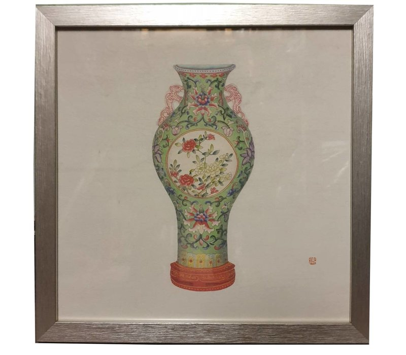 Chinese Painting with Frame Chinese Porcelain Vase Flowers W35xD3xH35cm