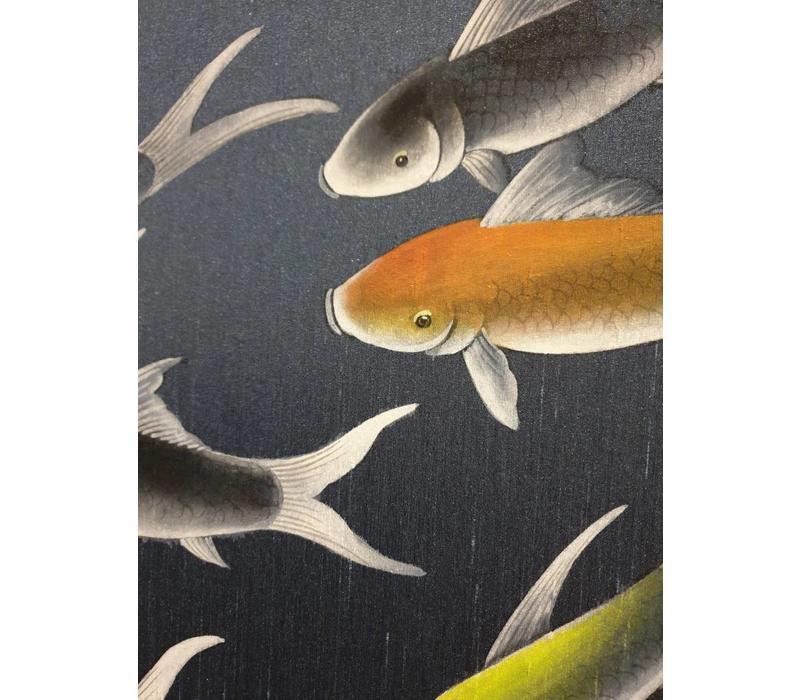 Oosters Wanddecoratie Schildering Koi op Puur Zijde Set/2 650x1200mm