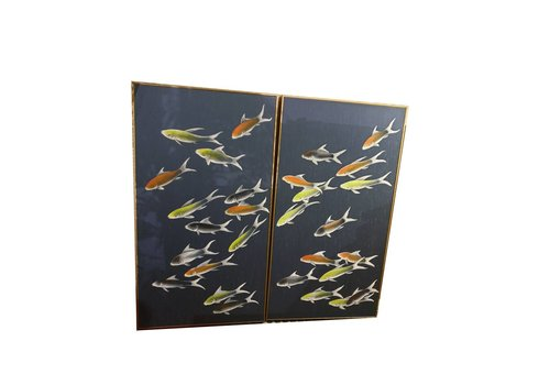 Fine Asianliving Fine Asianliving Oriental Wall Art Painted Koi Fishes 100% Pure Silk Set/2 650x1200mm