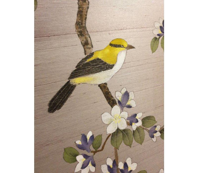 Oriental Wall Art Painted Birds 100% Pure Silk 850x850mm