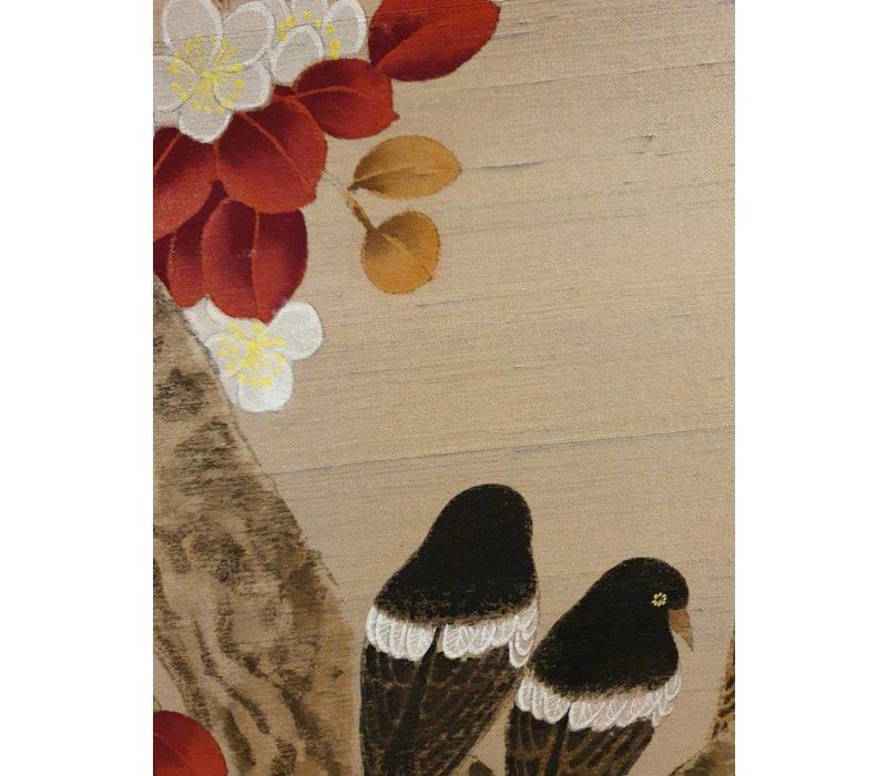 Oriental Wall Art Painted Birds 100% Pure Silk 900x900mm