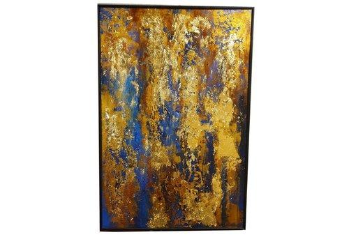 Fine Asianliving Handgemaakt Schilderij - Contemporary Art Oil Painting Bladgoud