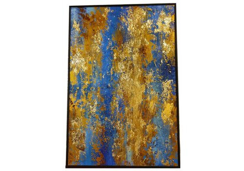 Fine Asianliving Oil Painting Blue and Yellow stripes