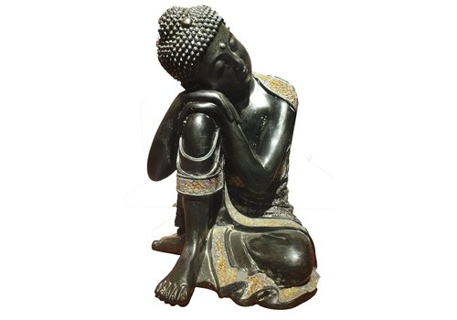Fine Asianliving Sleeping Buddha on Knees Black