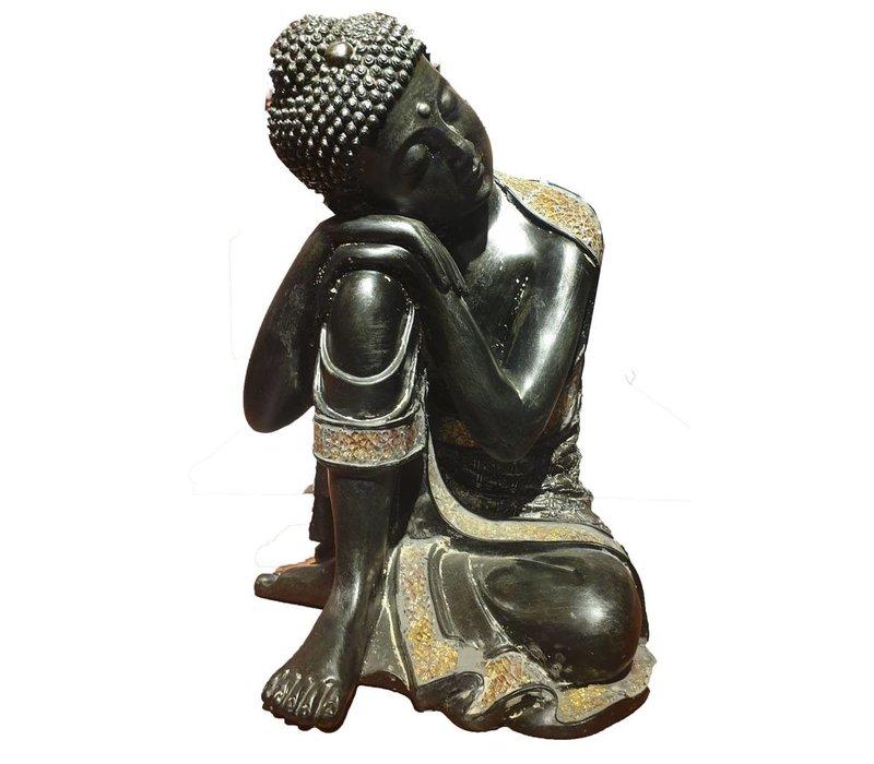 Slapende Boeddha op Knie zwart