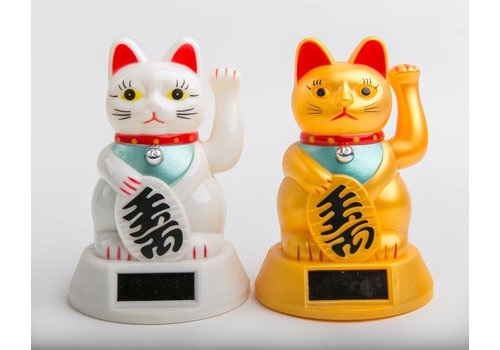 Fine Asianliving Lucky Cat Maneki Neko Sun Energy Gold Medium